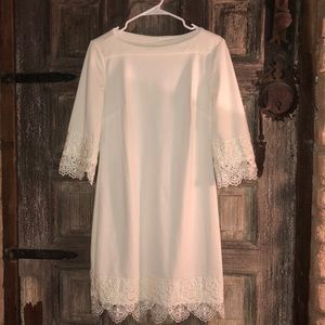 Off-white dress with lace accent